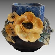 "Barbotine Vase ~ Yellow Flowers ~ Mold 318 ~ 4"" Tall ~ Faience Manufacturing Co. GREENPOINT, BROOKLYN, NEW YORK 1880-1892"