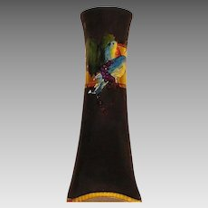 """PHENOMENAL Bavarian Square Based 13 1/2""""  Vase ~ Hand Painted and Gold, Colorful Love Birds ~ Artist Signed ~ HEINRICH & CO. (Germany) - ca 1896 +"""
