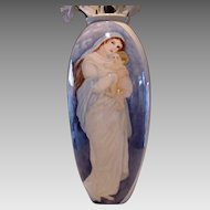 "Lenox Belleek Portrait Vase ~LARGE vase. 19"" tall ~ Hand Painted Mother & Child, Pink Roses ~ Lenox Belleek ca.1906-1924"