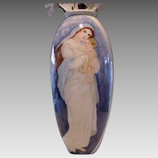 "Lenox Belleek Portrait Vase ~LARGE vase. 19"" tall ~ Hand Painted Mother & Child, Pink Roses ~ Lenox Belleek ca.1906-1924"