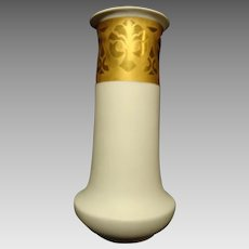 11 3/4 '' Porcelain Vase ~ Cream Vellum and Gold Embossed ~ HEINRICH & CO. Selb Bavaria 1896+