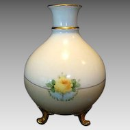 Beautiful Bavarian Three Footed Vase ~ Hand Painted with Yellow Roses ~ Heinrich & Co 1911-1934