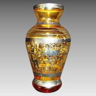Wonderful Little Bud Vase with Yellow /Amber Glass and Silver Overlay