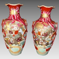 "Pair of Large Vases ~Mirror  Image Satsuma Samurai 15"" ~ Meiji Period 1868 to 1912"