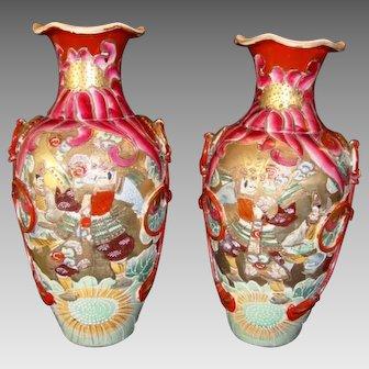 "Pair of Large Vases ~Mirror  Image Satsuma Samurai 15"" ~ Meiji Period 1868 to 1912"