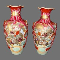 "Satsuma Samurai 15""  Vases ~ Mirror Image ~ Meiji Period 1868 to 1912"