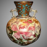Awesome 150 Yr Old English Earthenware Vase Hand Painted with Pink Peonies ~ James Dimmock & Co Staffordshire England 1860-1880