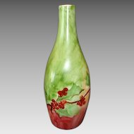 Unique Shaped Bohemian Porcelain Bud Vase ~ Hand Painted with Currants ~ Fischer & Mieg Epiag Pirkenhammer Bohemia 1910-1935