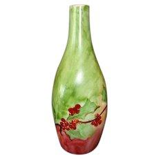 Unique Shaped Bohemian Porcelain Bud Vase ~ Hand Painted with Currants ~ Fischer & Mieg Epiag Pirkenhammer Bohemia 1910-1935