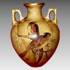"Fantastic 10 ½"" Porcelain Vase ~ Royal Austria ~ Hand Painted with Birds and Pine Trees ~  OEG Oscar & edger Gutherz Austria 1899-1916"