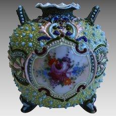 Colorful Japanese Moriage Handled Bud Vase