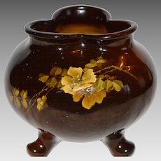 Antique Footed Bowl / Vase~ Yellow Rose ~ Louwelsa ~ # 589 ~Weller ca 1896 -1924