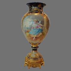 "Magnificent 17"" French Hand Painted Porcelain Vase ~ Cupid & Maiden / Woodland Scene ~ Artist Signed ""Maxant"" ~ Edme Samson & Cie - Samson Ceramics  Paris ~  France, Late 1800s"