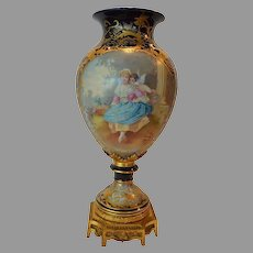 "Magnificent 17"" French Hand Painted Porcelain Vase ~ Cupid & Maiden / Woodland Scene ~ Artist Signed ""Maxant"" ~ Edme Samson & Cie - Samson Ceramics  Paris ~  France, Late 1800s"