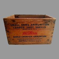 Wooden Shot Shell box - Western (Winchester) Cartridge Company 1940's. 12 gauge box with original lettering and paint.