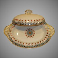Charming English Earthenware Covered Dish ~Blue, Gold & Red Geometric Designs ~ W T Copeland England ca 1850-1867