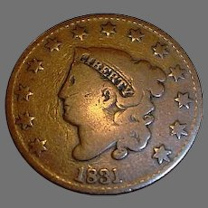 1831 United States of America Large Cent - Coronet Head - Copper Large Cent