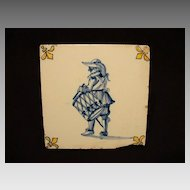 GREAT Dutch Delft Ceramic Tile  WITH FLEUR DE LIS and a Drummer ~ Plateelbakkerij Delft Amsterdam Holland  1897-1915
