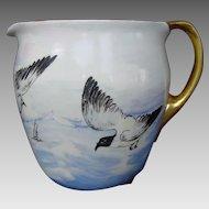 50% OFF!  WONDERFUL Lenox Belleek Lemonade / Cider Pitcher ~ Hand Painted with Ocean,Sea Gulls&Boats ~ Lenox Belleek ca.1906-1924.