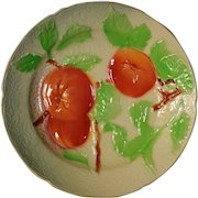 BEAUTIFUL Antique French Majolica Faience Plate with Fruit ~ St Clements, France 1920-1930