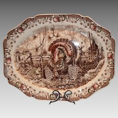 """Wonderful Turkey Platter ~ 20 1/2"""" """"His Majesty"""" ~ Pat'n Pending ~  Johnson Brothers Staffordshire England Early 1900's"""