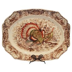 "Turkey Platter ~ 20 3/4"" ~Johnson Brothers Wild Turkeys Native American Windsor Ware ~ Staffordshire England 1950's"
