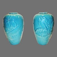 "Pair of 9"" Rookwood Vases ~ Turquoise Raised Flowers ~ High Gloss Glaze ~ #6893 ~ Rookwood Pottery Cincinnati OH 1946"