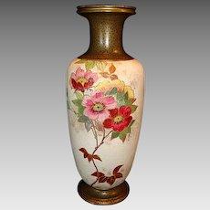 "Earthenware Bud Vase ~  8 ½"" Tall Tapestry Ground with Pink Roses ~ Artist Signed ~ Doulton Slater's Burslem England 1886-1902"
