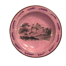 Pink Luster and Transfer Toy Plate ca. 1830