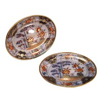 "Pair Davenport Ironstone ""Japan"" Oval Trays ca. 1825"