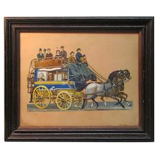 Framed Victorian Die Cut of Stage Coach