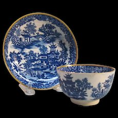 Caughley Blue Printed Cup and Saucer ca. 1785
