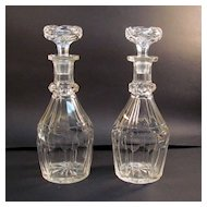 Pair Heavy Cut Glass Decanters ca. 1900
