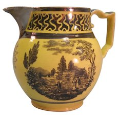 Staffordshire Yellow Ground Jug with Transfer and Luster ca. 1815