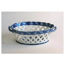 Staffordshire Blue and White Basket circa 1835