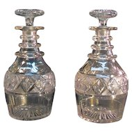 Pair Regency/Georgian Cut Glass Decanters