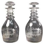 Pair Blown and Cut Decanters ca 1800
