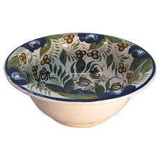 Large Wash Bowl with Free Hand Painted Design ca. 1825