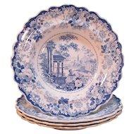"Four Staffordshire Soup Plates ""Corinthian"" ca. 1835"