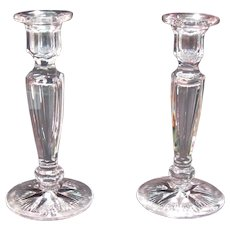 Pair Tuthill Cut Glass Candlesticks ca. 1915