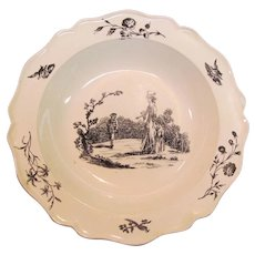 Creamware Black Printed Soup Plate ca. 1795