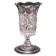 "Pressed Glass Celery Vase ""Arches and Bull's Eyes"""