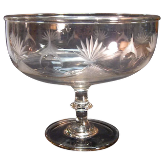 Large Pittsburgh Blown and Cut Compote ca. 1825-40