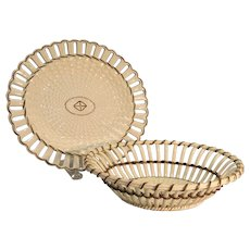 "Wedgwood Creamware Woven ""Twig"" Basket and Stand ca. 1800"