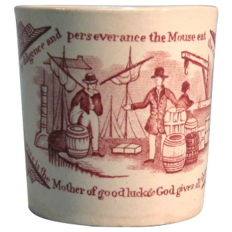 Staffordshire Franklin Maxims Child's Mug ca. 1835