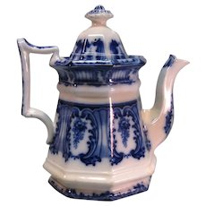 Flow Blue Ironstone Teapot ca. 1865