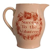 "19th Century Creamware ""Success to the Volunteers"" Jug"