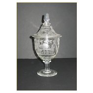 Antique Engraved Glass Covered Jar