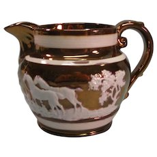 Copper Luster Jug with Relief Hunting Scene ca. 1830