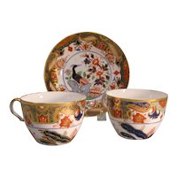 "Two Spode Porcelain ""Japan"" Cups and Saucer ca. 1815"